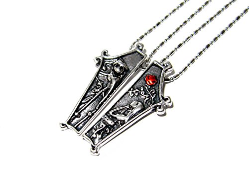 QueenGEEK The Nightmare Before Christmas Jack and Sally Coffin Couple Necklace US (Nightmare Before Christmas Couples Necklace)
