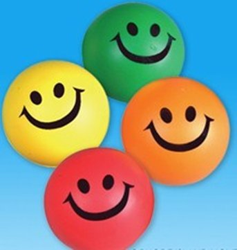12 Smile stress squeeze balls - assorted color 2.5 inch by happy deals
