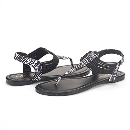 Sandals String Black Ankle Strap Summer DREAM 2 PAIRS Strappy Women's SPPARKLY Gladiator Multi Thong Elastic wAA7FqTPXn