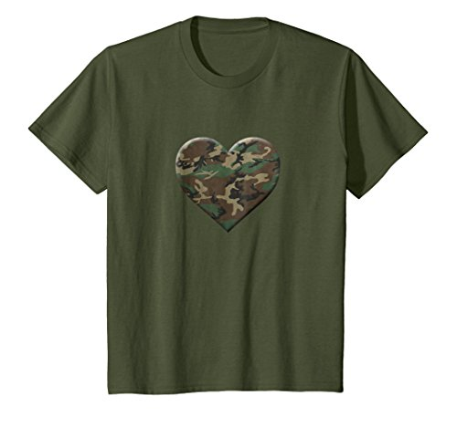 Camo Heart T-shirt - Kids I Love You American Soldier Troops Camo Heart Emoticon Shirt 10 Olive