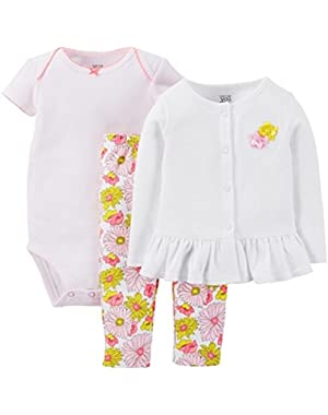 Just One You Baby Girls' Floral 3-Piece Pant Set - Pink
