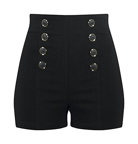 Double Trouble Apparel High Waisted Pin Me Up Shorts - Black
