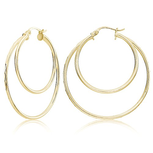(Yellow Gold Flash Sterling Silver Diamond-cut 38mm Round Double Hoop)