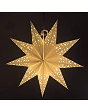 Uonlytech Star Shaped Paper Lanterns 45CM Folding Hollow Out Hanging Decorative Star Lanterns for Home,Christmas,Party