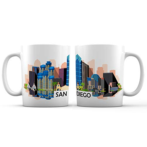 San Diego Iconic City View Ceramic Coffee Mug - 11 oz. - Awesome New Design Colorful Decorative Souvenir Gift Cup for Visiting Friends, Tourists, Men and Women, California