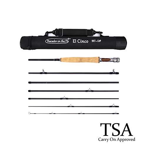 - Premium Fly Fishing Rod | El Cinco | Convenient Travel Case | 7 Piece Set | IM10 Graphite Rod | Upgraded Aluminum Reel Seat | Portable & Lightweight | 9 Feet Long | 5 Weight
