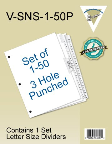 Numbered Dividers 1-50 3 Hole Punched (52 Week Dividers)