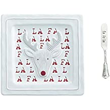 Mud Pie 4115024R Holiday Reindeer Cheese Plate Set, One Size, White, red