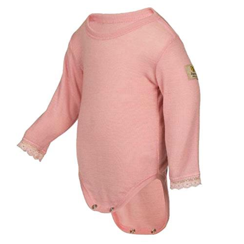 Janus 100% Merino Wool Baby Bodysuit Long Sleeve w/lace Machine Washable Made in Norway (Wool Merino Suit)
