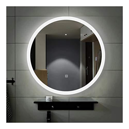 JKFZD Round Bathroom Mirror with Lights 500mm 600mm Illuminated LED Backlit Bathroom -