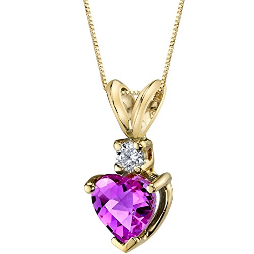 14 Karat Yellow Gold Heart Shape 1.00 Carats Created Pink Sapphire Diamond Pendant