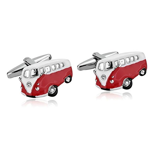 Adisaer Stainless Steel Cuff links for Mens Red White Bus Mens Dress Shirt Cufflinks Business - Oroton Glasses