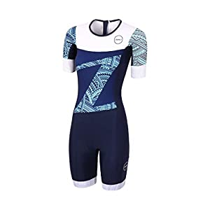 Zone3 Women's Lava Hawaii Print Long Distance Short Sleeve Aero Tri Suit