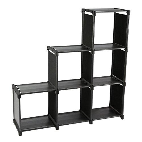 Smart-Home 3 Tiers 6 Cubes Storage Cabinet Closet Bookcase Shelf (Black) - Bookcase Storage Shelves Cabinet