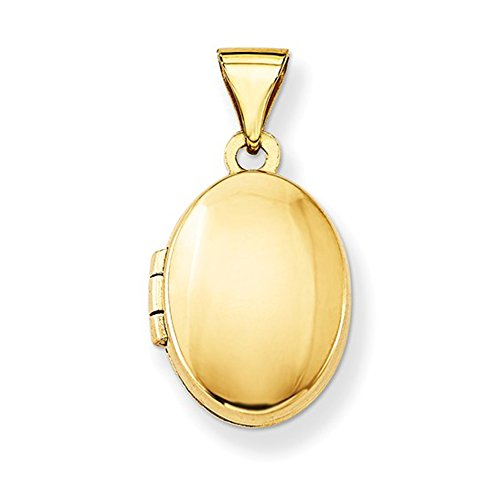 14K Yellow Gold Classic Oval Locket Pendant, 16mm x 13mm