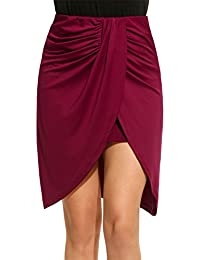 Women's Classic Slit Ruched Pleated Double Layer Asymmetrical Solid Hi Low Pencil Skirt(Black,Red,Gray)