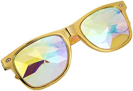 5136ef6e63a8 FOCUSSEXY Kaleidoscope Steampunk Goggles Multicolor Lens Glasses Diffraction
