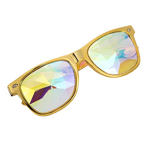 SLTY Square Kaleidoscope Rave Glasses Steampunk Goggles Festival Retro Goggles Yellow