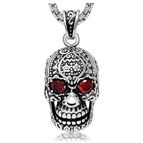 Skull Punk Tattoos - Orris Titanium Tattoo Skull Hip-Hop Punk Male Big Pendant Chain Necklace for Men