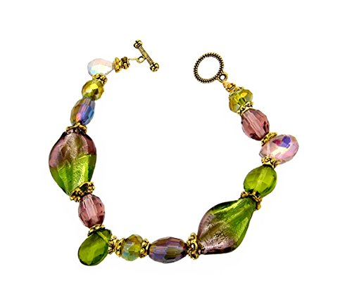 A-Ha Twisted Glass Bracelet - Olive Green and Purple (B36)