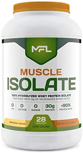 MFL 100 Isolate Protein l 30g of Protein l 12g Amino Acids l Keto Friendly l Low Carbs l 2 lbs. Banana Cream