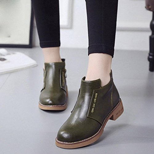Women British Martin Boots, Single Short Artificial leather Flats Casual Shoes Boots Lace-Up High-heeled Women Boots Shoes by MML Green