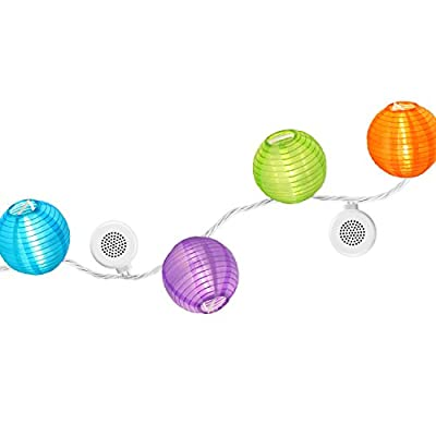 Bright Tunes Decorative String Lights with Bluetooth Speakers, Decorative Nylon Lanterns with LED Lights, Black Cord by Innovative Technology