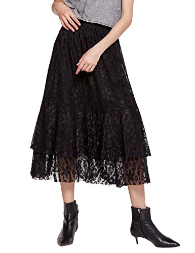 (Women's A-Line Maxi Lace Embroidered Skirt With Elastic Waistband(C003Black-XXL))