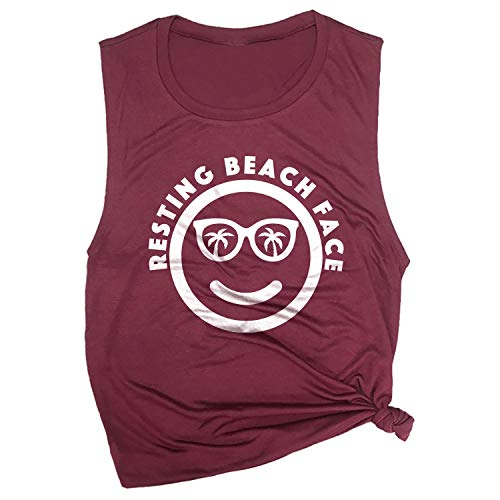 Spunky Pineapple Resting Beach Face Funny Summer Vacation Workout Muscle Tee Maroon