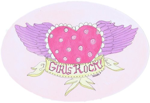 The Kids Room by Stupell Girls Rock! Heart with Wings Oval Wall Plaque ()
