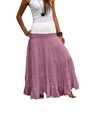 Billy's Thai Shop Women's Long Maxi Pleated Skirt with Elastic Smocked Waist One Size Fits Most. Lilac