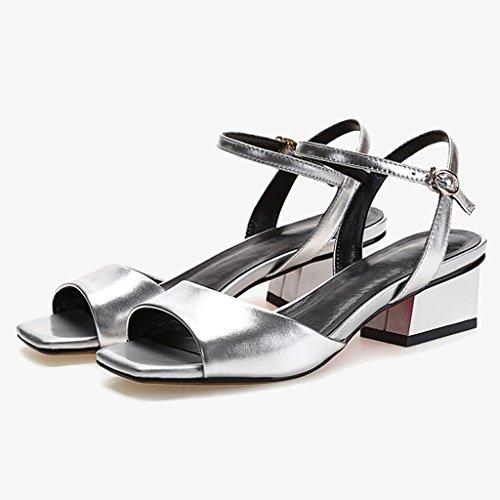 WANGXIAOLIN ファッションオープントゥの女性の靴と厚いレザーヒールサンダル女性の夏の魚の口 ( 色 : シルバー しるば゜ , サイズ さいず : 35 )