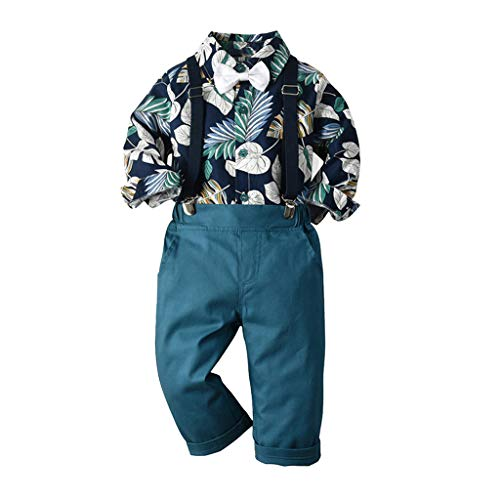 Toddler Kids Gentleman Outfit,Crytech Baby Boy Hawaiian Travel Floral Leaf Long Sleeve Button Up T-Shirt Top Bib Overal Pant with Tuxedo Bowtie Casual Fall Beach Clothes Set (3-4 Years, Navy)