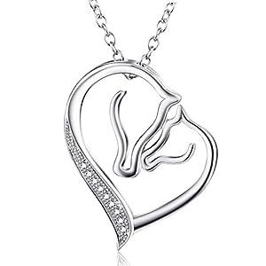 """YFN BIJOUX""""Amour pur"""" 925 en argent sterling à tête de cheval Collier pendentif coeur pour femmes Enfant enfants, 18″Chaîne Rolo"""