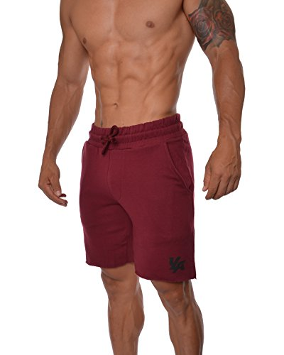 YoungLA Gym Shorts for Men French Terry Cotton Workout Casual Athletic Basketball with Pockets 112 Burgundy Small (Best Gym Workout Routine For Men)