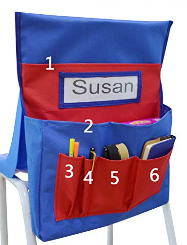 VNOM Chairback Buddy Pocket Chart with Name Tag Slot Kids School Supply Chair Pocket Organizer for Home School Classroom Daycare (Red+Blue) (Chair Chart)