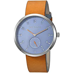 Ted Baker Men's 'Josh' Quartz Stainless Steel and Leather Casual Watch, Color:Brown (Model: TE50011004)