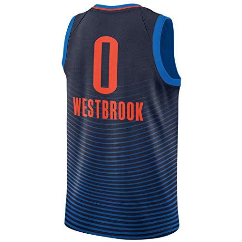 (Anxiously Men's_Russell_Westbrook_Navy_Basketball Jersey Fans Replica Game Jersey Sportswear T-Shirt)