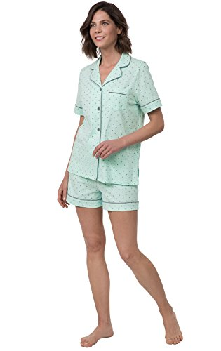 PajamaGram Cotton Pin Dot Womens Pajamas - 2 Piece PJ Set, Mint, Medium (8-10)