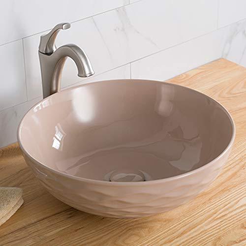 Kraus KCV-200GBE Ceramic Above counter Round Bathroom Sink, 16.5 x 16.5 x 5.5 inches, - Sink Beige Mount Wall