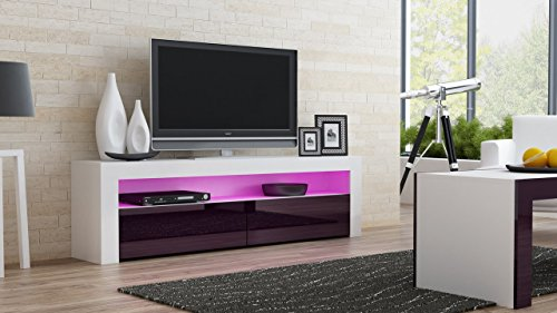 TV Console MILANO Classic WHITE - up to 70-inch flat TV screens – MULTICOLOR 16 RGB LED light system and High Gloss finish front doors – Mesa TV Milano para televisores hasta 70 pulgadas (Milano Collection Storage)
