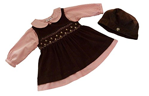 B.T. Kids Baby Girls' 3 Pc Brown Cord Jumper Set 6-9 mos brown