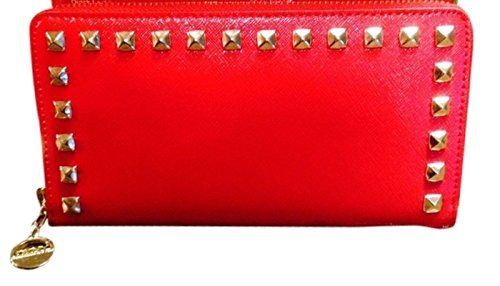 Dkny Red Leather - Dkny Donna Karan Red Saffiano Leather Zip Around Wallet
