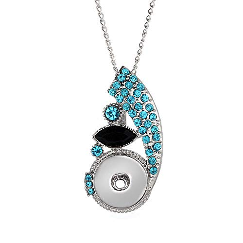 Hot Women Crystal Jewelry Necklace Pendant Fit 18mm Noosa Snap Button N250