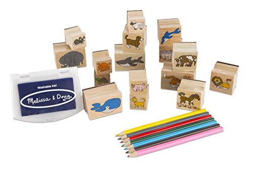 Melissa & Doug Wooden Stamp Set: Animals - 16 Stamps, 7 Colored Pencils, Stamp Pad