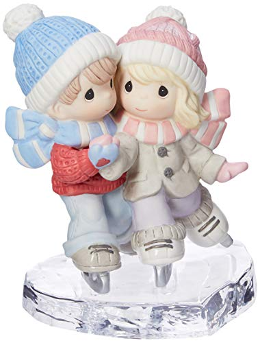 Couple Skating - Precious Moments I Am S-mitten By Your Love Couple Ice Skating Bisque Porcelain Glass Figurine 181041