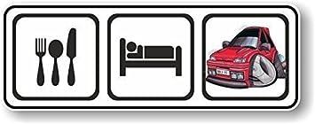 Amazon.es: Diseño clásico de Eat, Sleep para caricatura de Mk3de Koolart FORD Fiesta RS Turbo RST vinilo adhesivo coche 140x 50mm