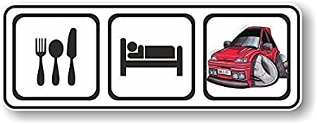Amazon.es: Diseño clásico de Eat, Sleep para caricatura de Mk3de Koolart FORD Fiesta RS Turbo RST vinilo adhesivo coche 140x 50mm