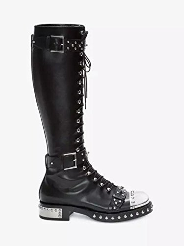 Punk Over Kitzen High Celeb Ladies The Thigh Wind Knight Boots Cowhide Boots High Heels Boots Stretch Knee Womens Lycra 40 Boots High Black 0p0vZrq