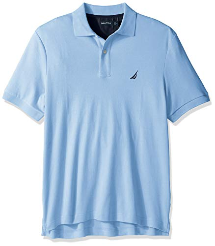 Nautica Men's Big and Tall Classic Fit Short Sleeve Solid Soft Cotton Polo Shirt, Noon Blue, 1XLT